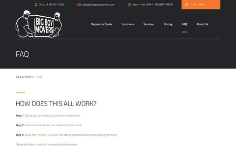 Screenshot of FAQ Page thebigboymovers.com - FAQ - Big Boy Movers - captured Oct. 5, 2018