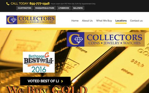 Screenshot of Locations Page collectorscoinsjewelry.com - Collectors Coins & Jewelry - Locations - captured July 15, 2016
