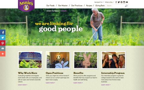 Screenshot of Jobs Page annies.com - Careers - Annie's Homegrown - captured Sept. 25, 2014