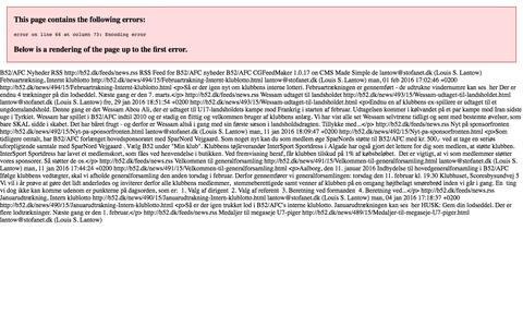 Screenshot of Press Page b52.dk - B52/AFC Nyheder RSS - captured Feb. 7, 2016