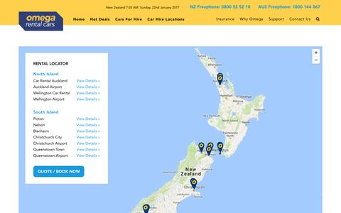 Screenshot of Locations Page omegarentalcars.com - Car Rental Locations NZ | Rent a Car New Zealand | Omega Rental Cars NZ - captured Jan. 21, 2017