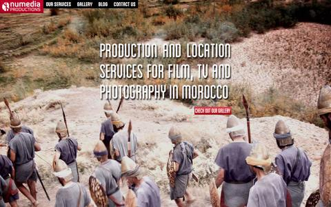 Screenshot of Home Page np.ma - Numedia Productions - Production and Location Services for Film and television in Morocco - captured Feb. 16, 2016