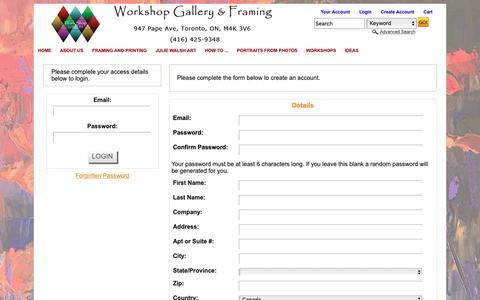 Screenshot of Login Page workshopgallery.ca captured Nov. 18, 2018