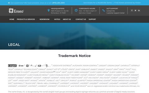 Screenshot of Terms Page enseo.com - Legal | Enseo - captured Nov. 5, 2018