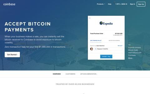 Screenshot of coinbase.com - Accept Bitcoin Payments - Coinbase - captured March 19, 2016