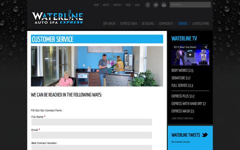 Screenshot of Support Page waterlineautospa.com - Waterline Auto Spa - Service - captured Oct. 27, 2014