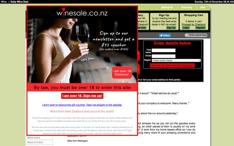 Screenshot of Signup Page winesale.co.nz - Exclusive Wine Specials for Wine Club Members - captured Nov. 12, 2016