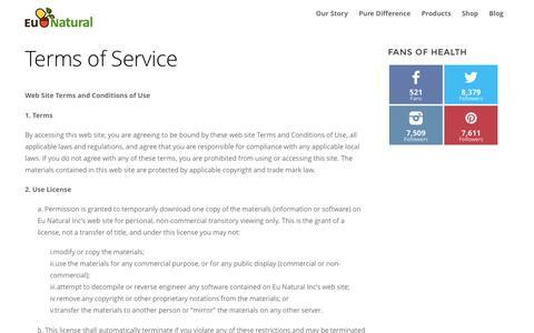 Screenshot of Terms Page eunatural.com - Terms of Service - captured July 16, 2016