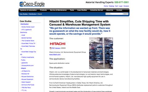 Screenshot of Case Studies Page cisco-eagle.com - Material handling system for Hitachi increases picking speed & reduce errors | Cisco-Eagle - captured Jan. 5, 2017