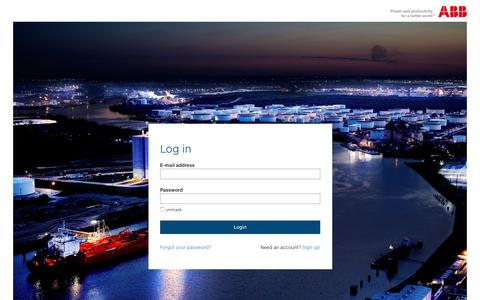 Screenshot of Login Page abb.com - Log in - captured July 30, 2016