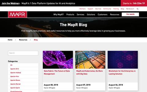 Screenshot of Blog mapr.com - The MapR Blog | MapR - captured Aug. 9, 2018