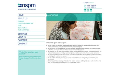 Screenshot of About Page nspm.com - nspm.ltd - Medical Writing & Communications - captured Oct. 26, 2014