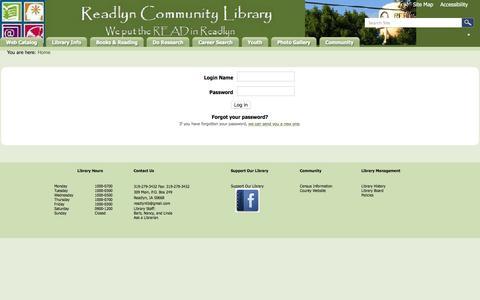 Screenshot of Login Page readlyn.lib.ia.us - Readlyn Community Library - captured June 23, 2016