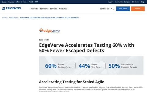 Screenshot of Case Studies Page tricentis.com - EdgeVerve Accelerates Testing 60% with 50% Fewer Escaped Defects - Tricentis - captured Feb. 7, 2019
