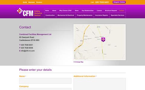 Screenshot of Contact Page cfm-ni.com - CFM Contact Details - captured Oct. 2, 2014