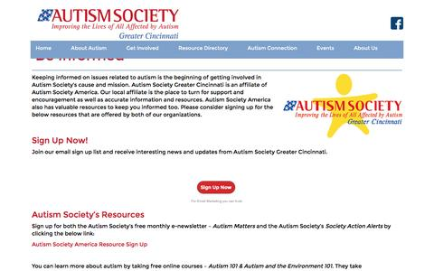 Screenshot of Signup Page autismcincy.org - Autism Society of Greater Cincinnati - captured Nov. 21, 2016