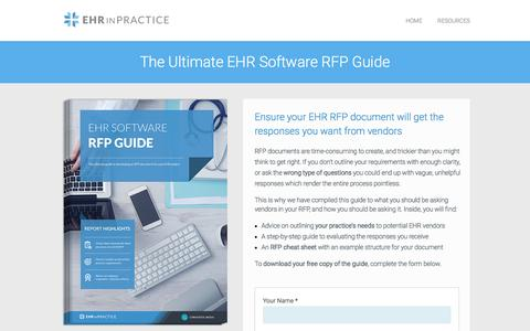 Screenshot of Landing Page ehrinpractice.com - EHR software RFP guide - get your free 19-page guide - captured Dec. 31, 2016