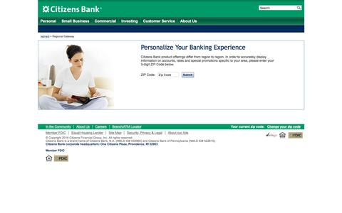 Screenshot of Support Page citizensbank.com - Regional Gateway | Citizens Bank - captured Aug. 20, 2016