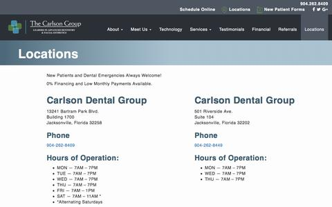 Screenshot of Contact Page Locations Page carlsondentalgroup.com - Locations | Carlson Dental Group - captured Jan. 15, 2018