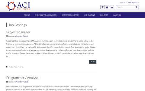 Screenshot of Jobs Page aciclinical.com - Job Postings | ACI Clinical - captured Dec. 22, 2015