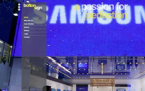 Screenshot of Home Page boltonsign.co.uk - UK Sign Manufacturers | Internal & External Signage | Built-up & Illuminated | Xperse - captured Jan. 6, 2016
