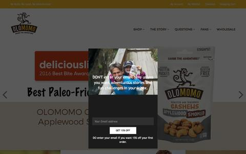 Screenshot of Home Page olomomo.com - OLOMOMO- Roasted and Seasoned Nuts from Boulder, CO - Be Nutty! – OLOMOMO Nut Company - captured Dec. 6, 2016