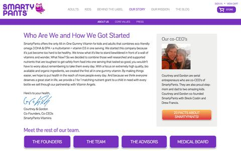 Screenshot of About Page smartypantsvitamins.com - Who Are We and How We Got Started! | SmartyPants Vitamins - captured Sept. 17, 2014