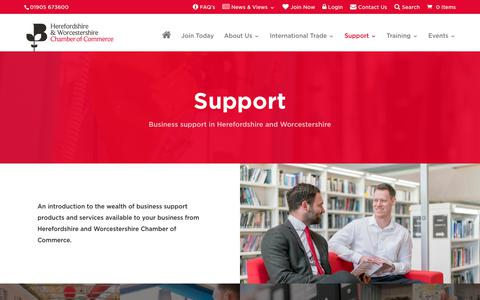 Screenshot of Support Page hwchamber.co.uk - Business Support in Herefordshire & Worcestershire   Herefordshire & Worcestershire Chamber of Commerce - captured Dec. 13, 2018