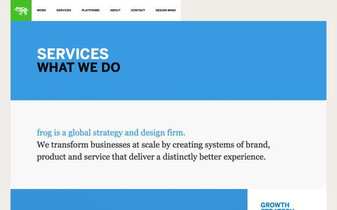 Screenshot of Services Page frogdesign.com - Product Design & Brand Strategy Services | frog - captured Feb. 10, 2016