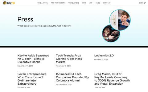 Screenshot of Press Page key.me - Press | KeyMe - captured Jan. 21, 2019