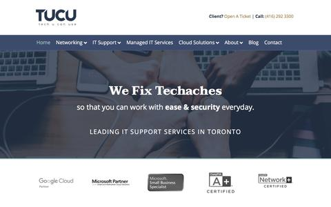 Screenshot of Home Page tucu.ca - TUCU – IT Support Toronto – Managed IT Services - captured Sept. 29, 2019