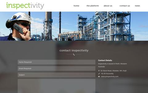 Screenshot of Contact Page inspectivity.com - contact us for oil & gas software | inspection commissioning & completions software | Inspectivity - captured Sept. 30, 2014