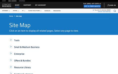 Screenshot of Site Map Page comcast.com - site-map - captured Sept. 25, 2018