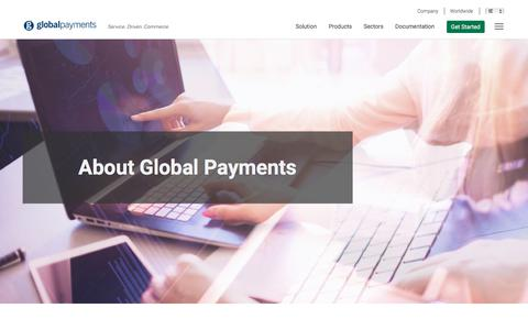 Screenshot of About Page globalpaymentsinc.com - E-commerce payment processing for all businesses | Global Payments - captured Sept. 23, 2018