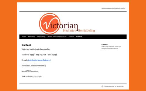 Screenshot of Contact Page victorianmediation.nl - Contact | - captured Oct. 7, 2014