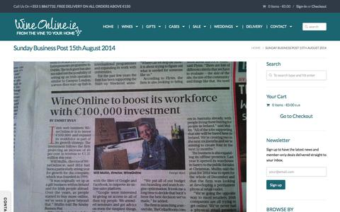 Screenshot of Press Page wineonline.ie - Sunday Business Post 15th August 2014 | Premium Wine gifts and wine cases from WineOnline.ie - captured Nov. 4, 2014
