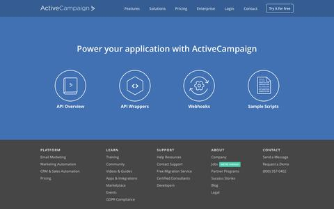 Screenshot of Developers Page activecampaign.com - Email Marketing API - captured May 17, 2018
