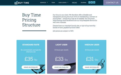Screenshot of Pricing Page buy-time.co.uk - Pricing - Flexible Personal Assistant & Lifestyle Management in London - captured Aug. 5, 2018
