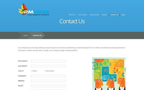 Screenshot of Contact Page pmwhiz.com - Contact Us | Project Management Consulting Inc. - captured Feb. 1, 2016