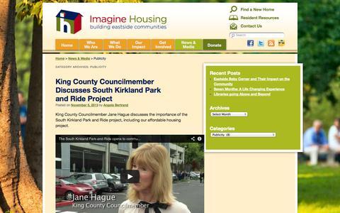 Screenshot of Press Page imaginehousing.org - Publicity Archives - Imagine Housing - captured Sept. 30, 2014