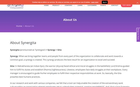 Screenshot of About Page synergita.com - About Us | Synergita - Talent Management Software - captured Sept. 21, 2018