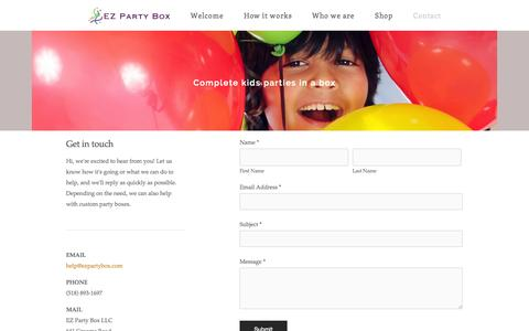 Screenshot of Contact Page ezpartybox.com - Contact — Complete kids parties in a box - captured Sept. 27, 2014