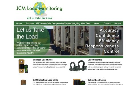 Screenshot of Products Page jcmload.com - JCM Load Monitoring - Products - captured Oct. 1, 2018