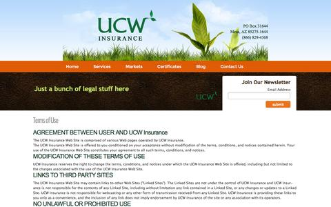 Screenshot of Terms Page ucwinsurance.com - Privacy Policy - UCW Environmental Insurance - captured Oct. 3, 2014