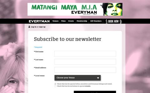 Screenshot of Signup Page everymancinema.com - Membership - captured Sept. 23, 2018