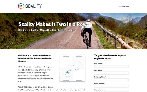 Screenshot of Landing Page scality.com - Analyst Report - Scality Named a Leader in the New Gartner Magic Quadrant for Distributed File Systems and Object Storage - captured Sept. 22, 2018