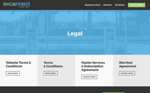 Screenshot of Terms Page evconnect.com - Legal - EV Connect - captured May 9, 2017
