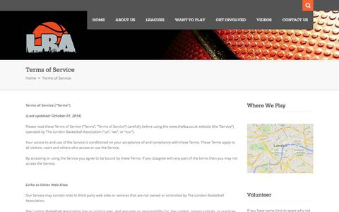 Screenshot of Terms Page thelba.co.uk - Terms of Service | London Basketball Association - captured Nov. 2, 2014