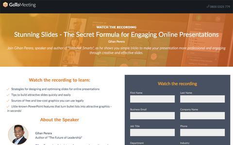 Screenshot of Landing Page gotomeeting.com - Stunning Slides - The Secret Formula for Engaging Online Presentations - captured April 14, 2018