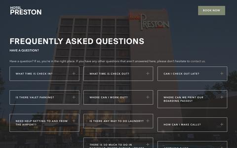 Screenshot of FAQ Page hotelpreston.com - Frequently Asked Questions | Hotel Preston, Nashville - captured July 23, 2018